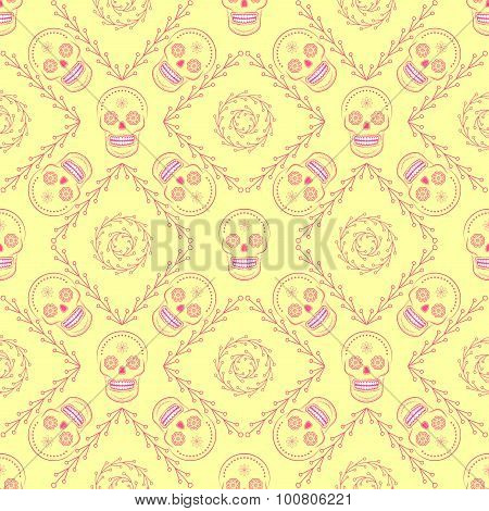 Day of the dead vector seamless pattern