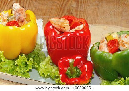 Peppers, Stuffed, Grilled Turkey Breast, Vegetables, Salad