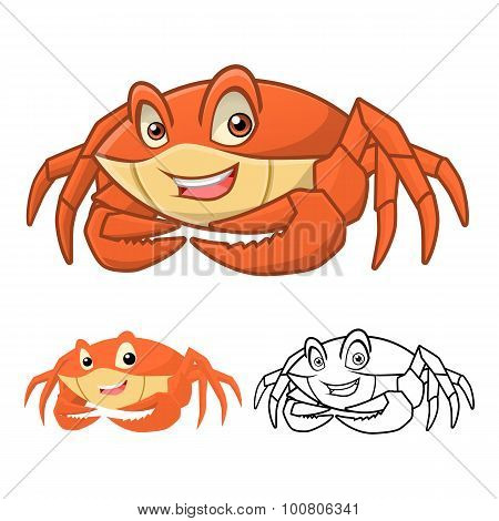 High Quality Crab Cartoon Character Include Flat Design and Line Art Version