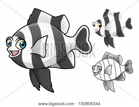 High Quality Four Stripe Damselfish Cartoon Character Include Flat Design and Line Art Version