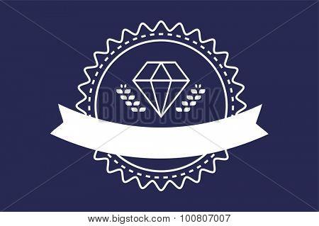 Vintage old diamond logo. Diamond icon template. Vintage retro style diamond.  Jewelry labels, ribbons, decor, ornament. Premium quality diamond vector. Diamond logo design. Retro style