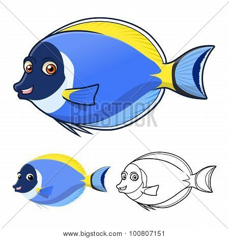 High Quality Powderblue Surgeonfish Cartoon Character Include Flat Design and Line Art Version