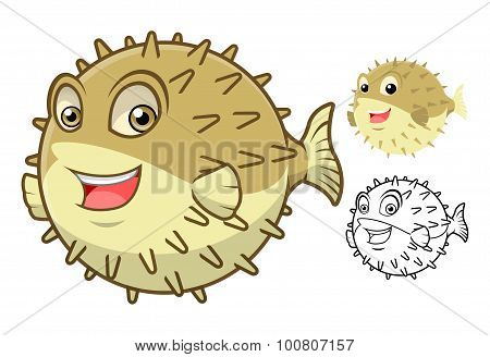 High Quality Puffer Fish Cartoon Character Include Flat Design and Line Art Version