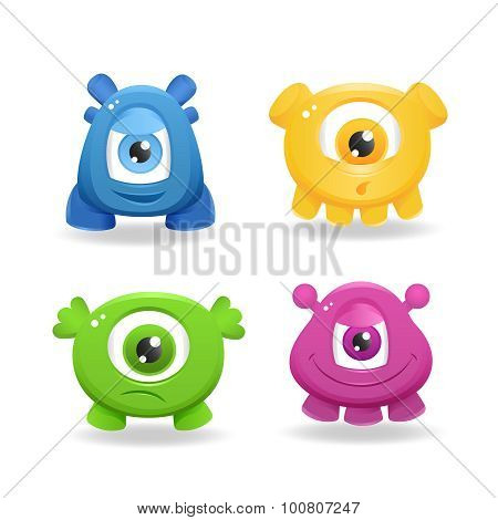 Cartoon Cute Monsters On White Background