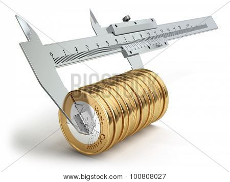 Small salary concept. Caliper measuring coins euro. 3d