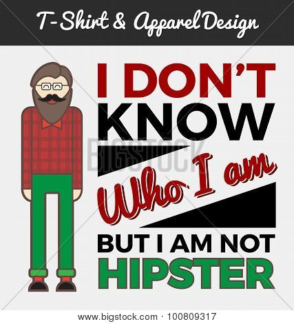 Hipster character and typography design