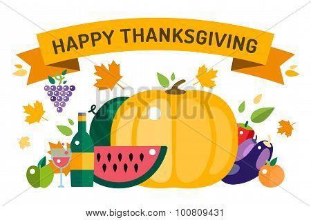 Thanksgiving day illustration card