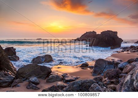 Seascape at Sunset time, the rocky coast, Portugal, Europe