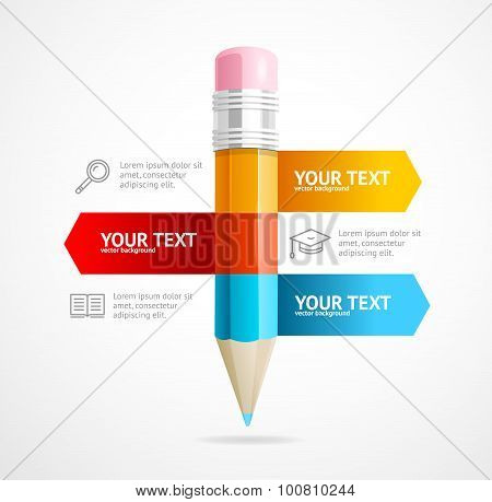 Pencil Infographic Education Concept. Vector