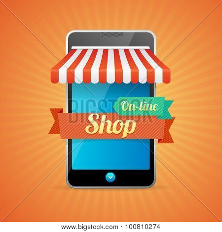 Phone Mobile Store On-line. Vector