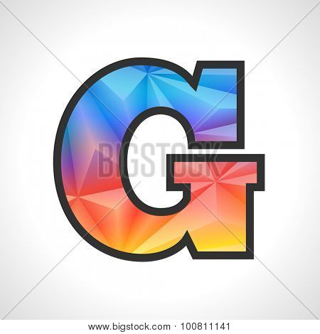 Vector Geometric Gradient Design Triangular Polygonal Font. Children letter G