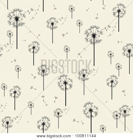 Dandelion Vector Seamless Pattern. Modern Stylish Texture. Repeating Geometric Elements Background
