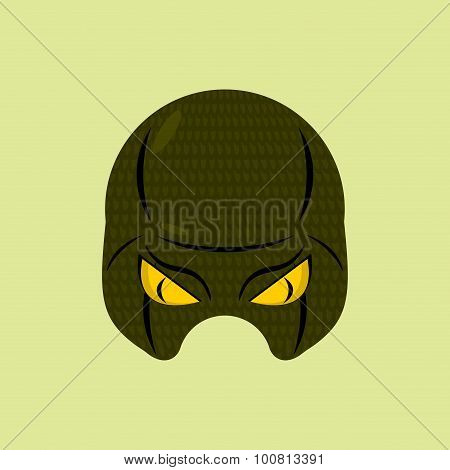 Superhero Mask Snake. Reptile Protective Mask For Person. Vector Illustration.