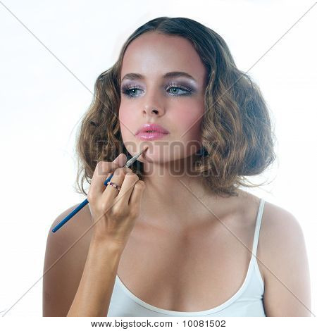 Make Up On Beautiful Model