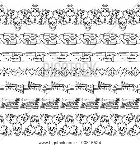 Seamless hand drawn doodle borders with skulls and guns