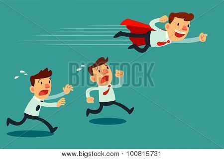 Businessman With Red Cape Fly Pass His Competitor