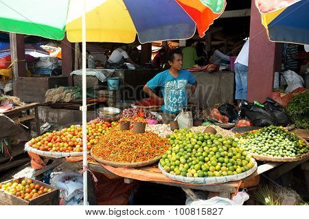 Traditional Marketplace With Local Fruit In Tomohon City