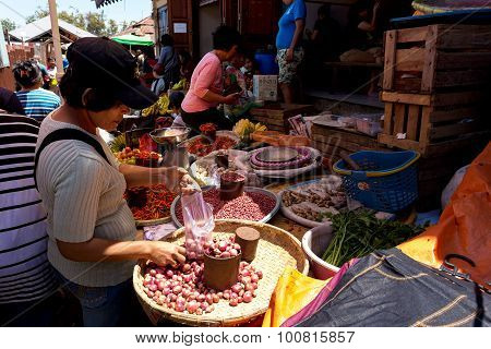 Traditional Marketplace With Local Vegetable In Tomohon City