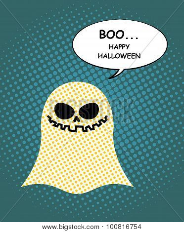 Boo Happy Halloween. Ghost Of Pop Art And Bubble. Pretty Good Ghost Symbol Of  Dreaded Holiday. Vect