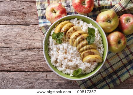 Rice With Caramelized Apples And Fresh Apples. Horizontal Top View