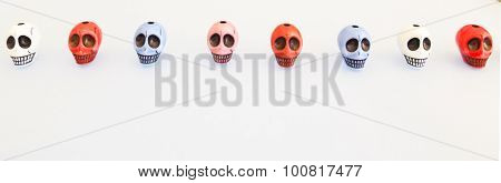 Funny Colored Skulls Lined Up