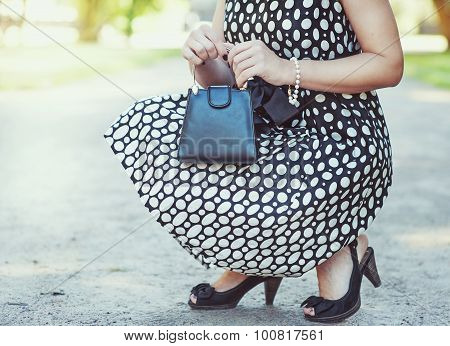 Fashionable Woman With Small Bag In Her Hands And Dress Sitting