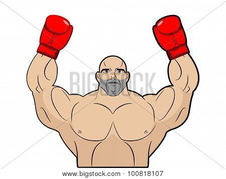 Winner, Champion Of Boxing. Strong Man On White Background. Bodybuilder In Bkserskih Gloves. Sports