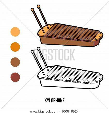 Coloring Book For Children: Musical Instruments (xylophone)