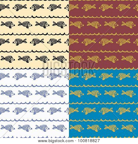 doodle seamless pattern fish