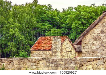 Stone Fence And Give A Red Roof