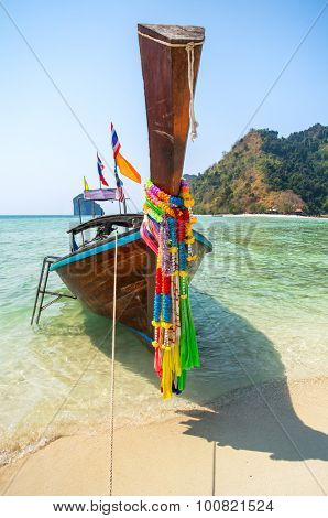 Longtail boat at the tropical beach of Poda island in Andaman sea, Thailand