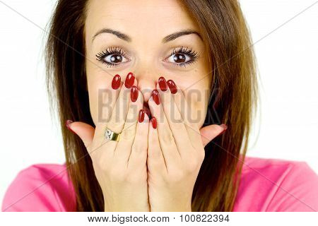 Woman Covering Face With Two Hands Surprised Closeup