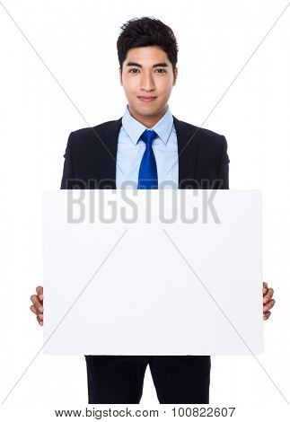 Asian businessman show with white board