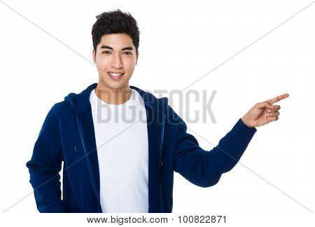 Man with finger point up