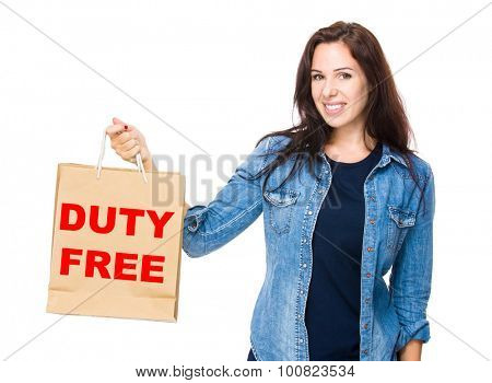 Woman hold with shopping bag for showing duty free