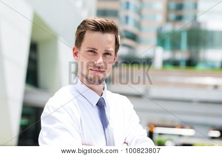 Caucasian businessman standing at outdoor