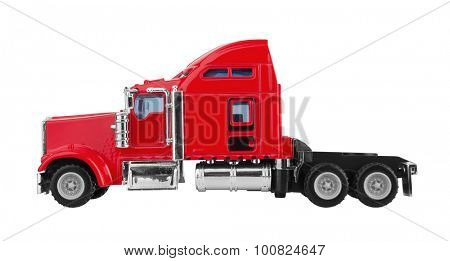 Red american truck isolated on white background. Model.
