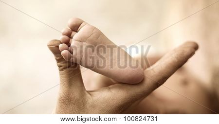 Cute little newborn baby's feet