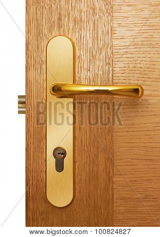 Door handle on natural wooden door