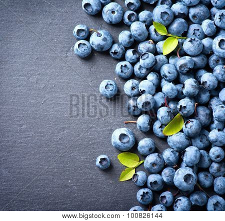 Blueberry border design. Ripe and tasty blueberries with green leaves on dark background. Bilberries close-up. Copy space for your text. Healthy food concept