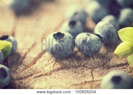 Bilberries closeup. Fresh Blueberries close up over cracked wooden background. Retro style. Diet concept