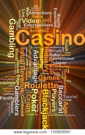 Background concept wordcloud illustration of casino glowing light