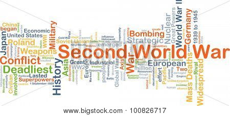 Background concept wordcloud illustration of Second World War