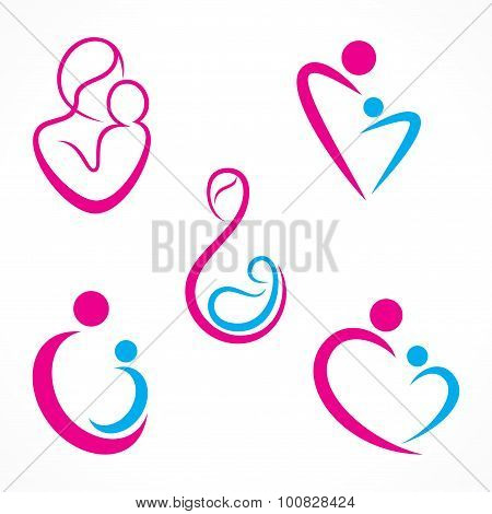 mother & baby icon design
