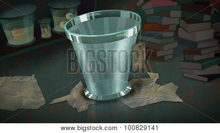 Glass Bucket With A Label.