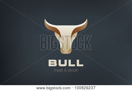 Bull Head Logo design vector template. Stylish Taurus Emblem Logotype