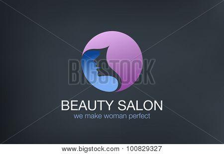 Beauty Fashion  Haircut Salon Logo circle design vector template. Hairdresser make up logotype concept icon.
