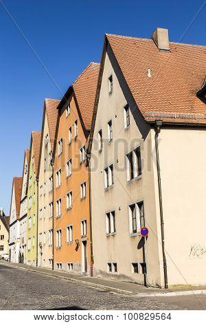 House Facades In Rothenburg Ob Der Tauber, Germany