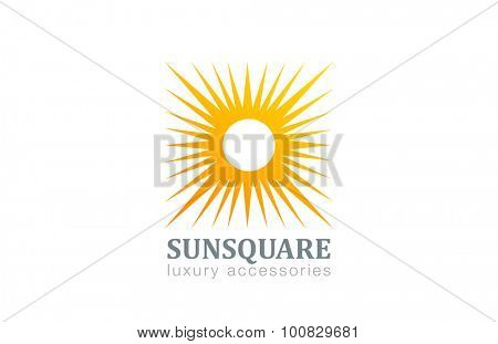 Sun Logo Vintage square shape design vector template. Star with rays Logotype abstract concept icon.