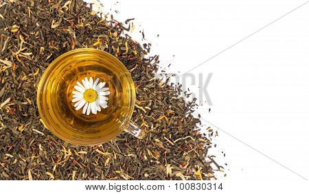 Transparent cup of tea with chamomile flowers.